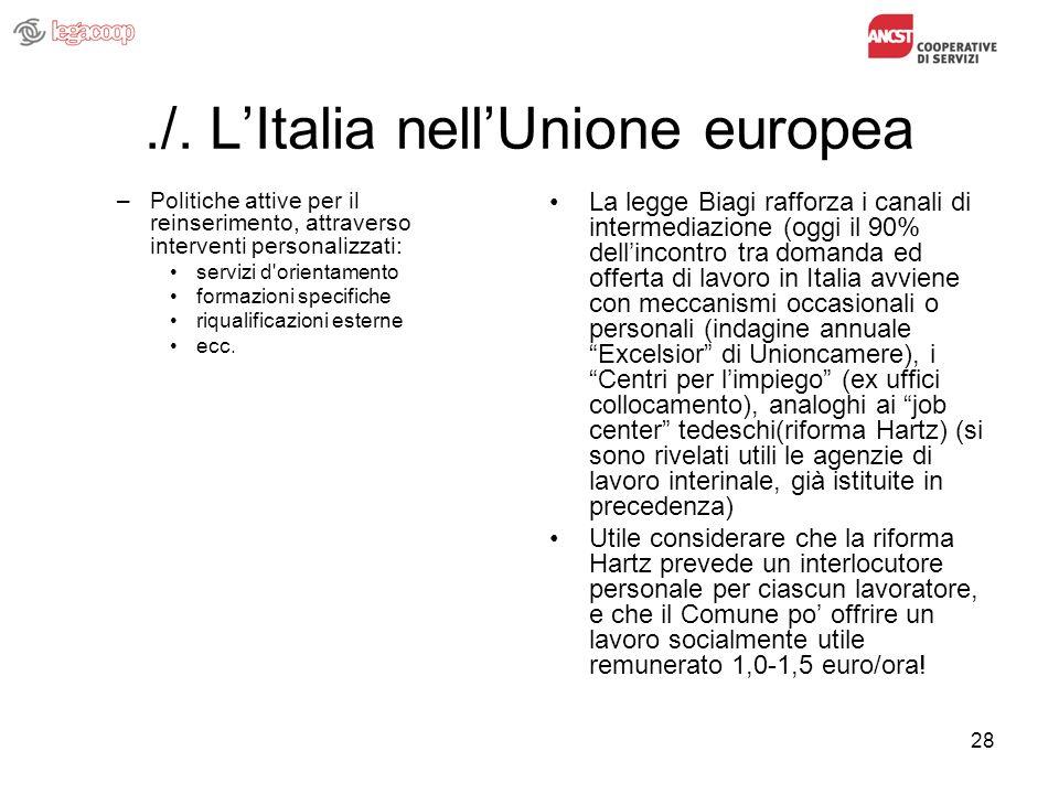 28./. LItalia nellUnione europea –Politiche attive per il reinserimento, attraverso interventi personalizzati: servizi d'orientamento formazioni speci