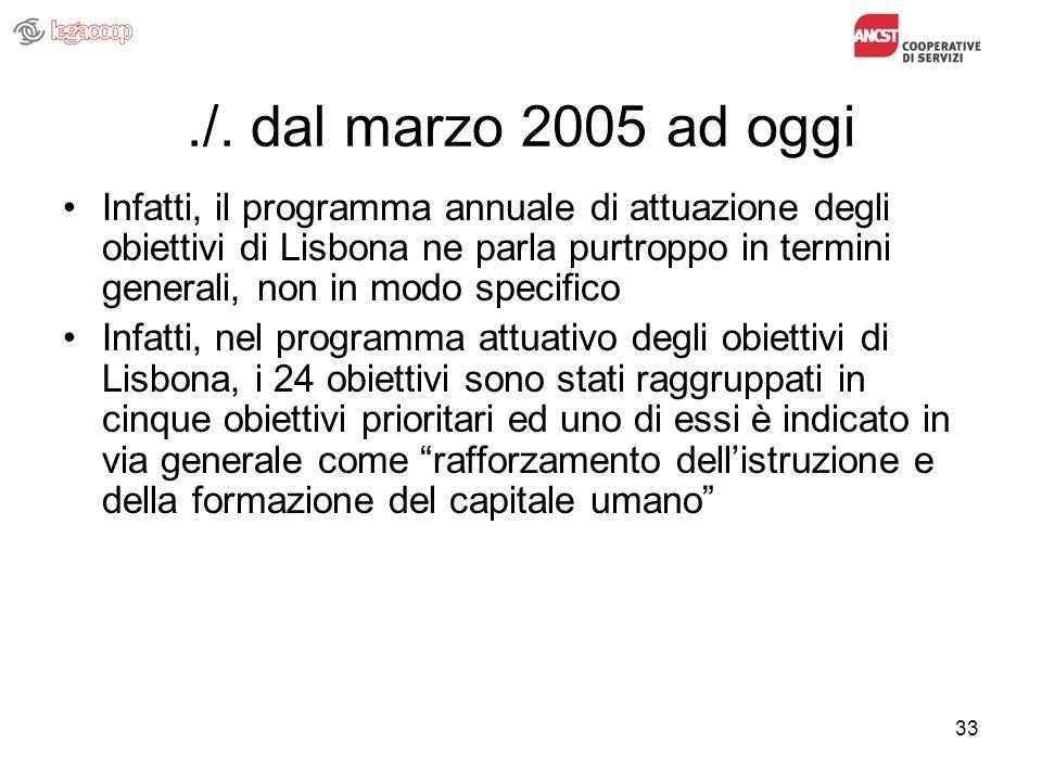 33./. dal marzo 2005 ad oggi Infatti, il programma annuale di attuazione degli obiettivi di Lisbona ne parla purtroppo in termini generali, non in mod