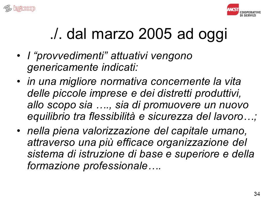 34./. dal marzo 2005 ad oggi I provvedimenti attuativi vengono genericamente indicati: in una migliore normativa concernente la vita delle piccole imp