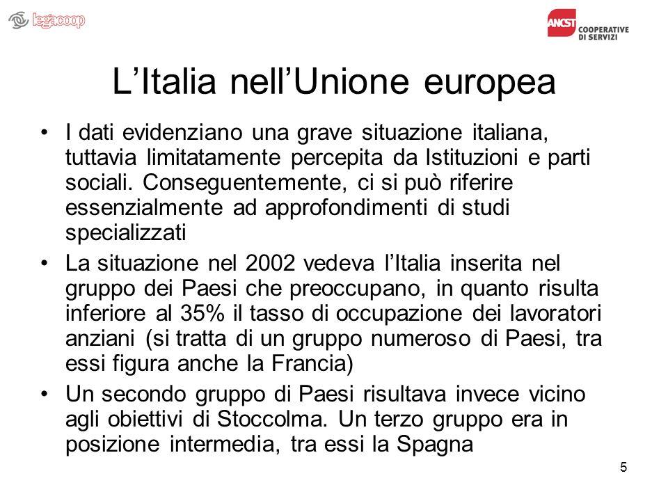 5 LItalia nellUnione europea I dati evidenziano una grave situazione italiana, tuttavia limitatamente percepita da Istituzioni e parti sociali. Conseg