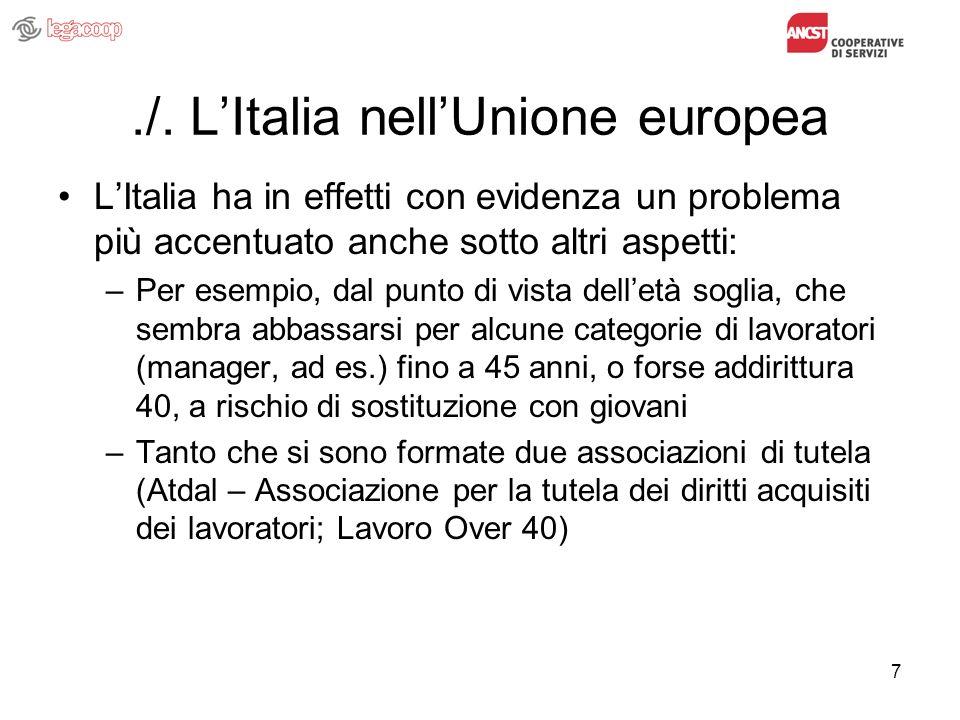 7./. LItalia nellUnione europea LItalia ha in effetti con evidenza un problema più accentuato anche sotto altri aspetti: –Per esempio, dal punto di vi