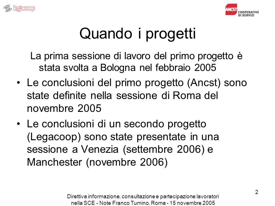 Direttiva informazione, consultazione e partecipazione lavoratori nella SCE - Note Franco Tumino, Roma - 15 novembre 2005 2 Quando i progetti La prima
