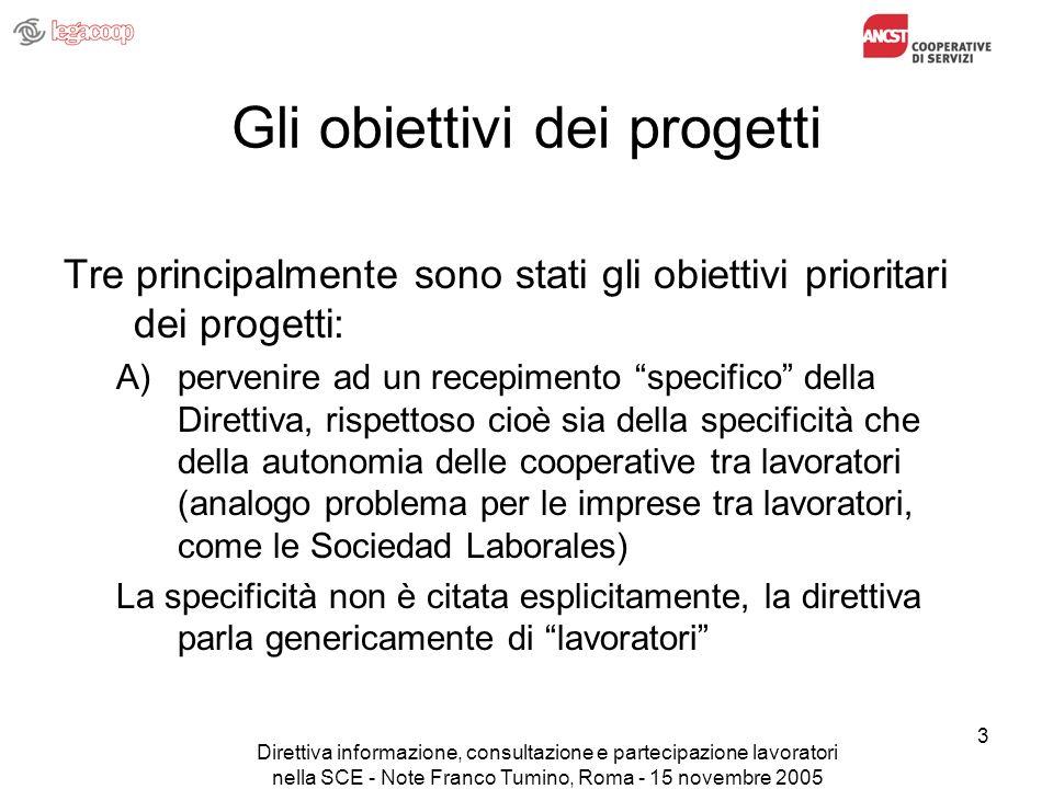 Direttiva informazione, consultazione e partecipazione lavoratori nella SCE - Note Franco Tumino, Roma - 15 novembre 2005 3 Gli obiettivi dei progetti