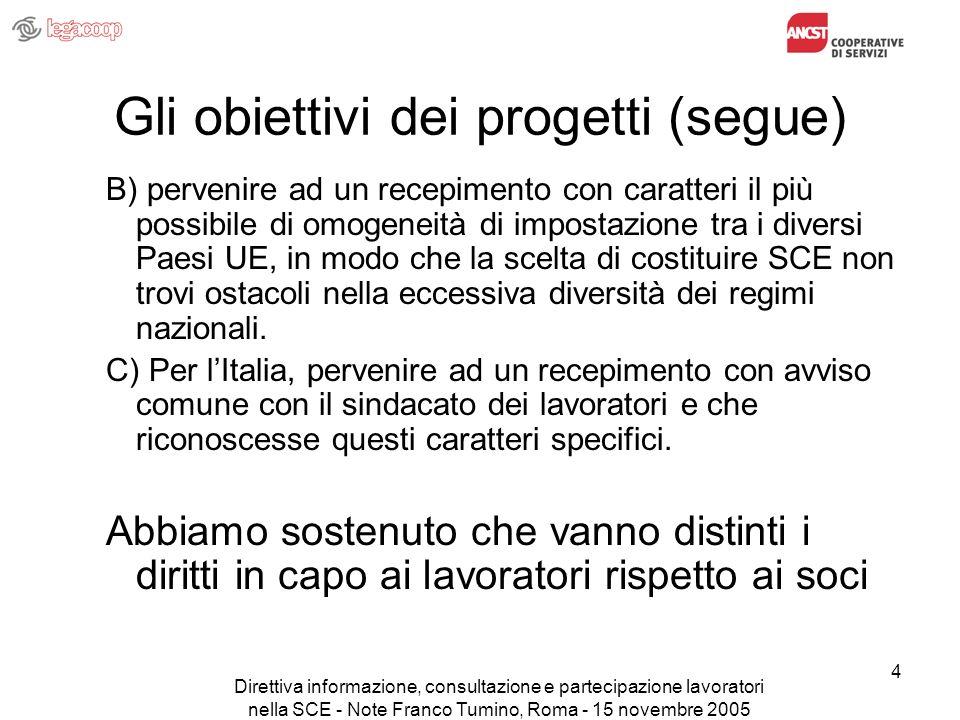 Direttiva informazione, consultazione e partecipazione lavoratori nella SCE - Note Franco Tumino, Roma - 15 novembre 2005 4 Gli obiettivi dei progetti