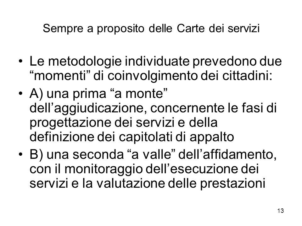 13 Sempre a proposito delle Carte dei servizi Le metodologie individuate prevedono due momenti di coinvolgimento dei cittadini: A) una prima a monte d