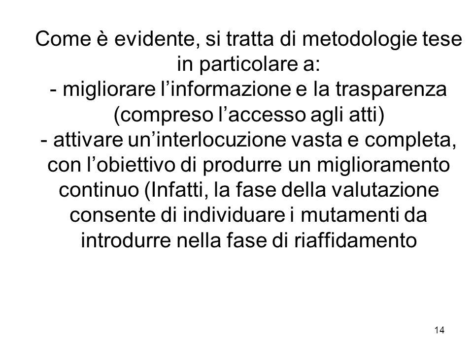 14 Come è evidente, si tratta di metodologie tese in particolare a: - migliorare linformazione e la trasparenza (compreso laccesso agli atti) - attiva