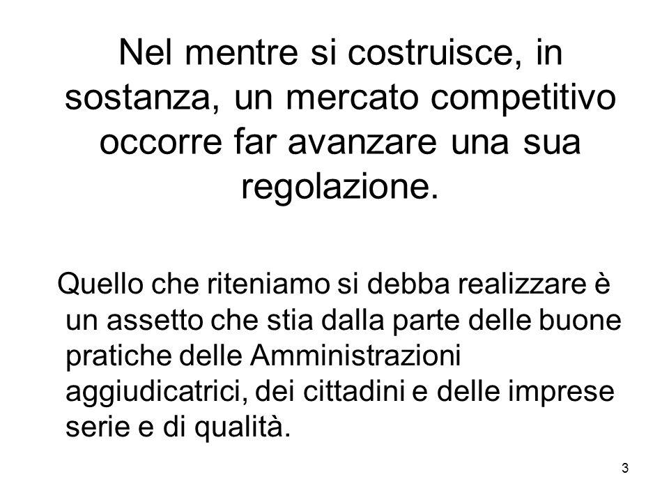 3 Nel mentre si costruisce, in sostanza, un mercato competitivo occorre far avanzare una sua regolazione.