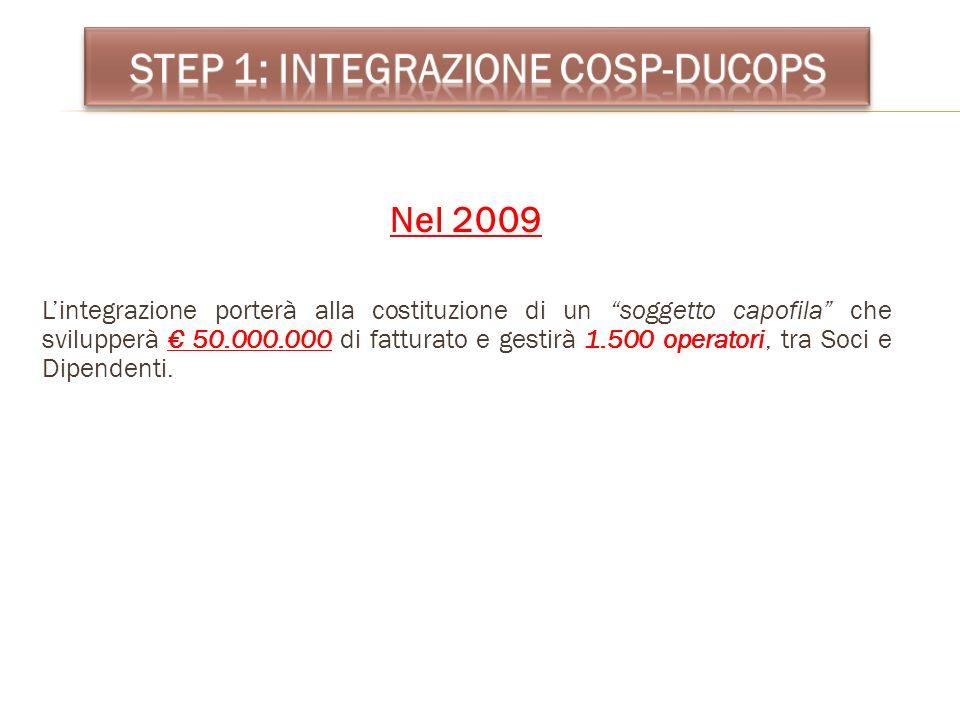 Nel 2009 Lintegrazione porterà alla costituzione di un soggetto capofila che svilupperà 50.000.000 di fatturato e gestirà 1.500 operatori, tra Soci e