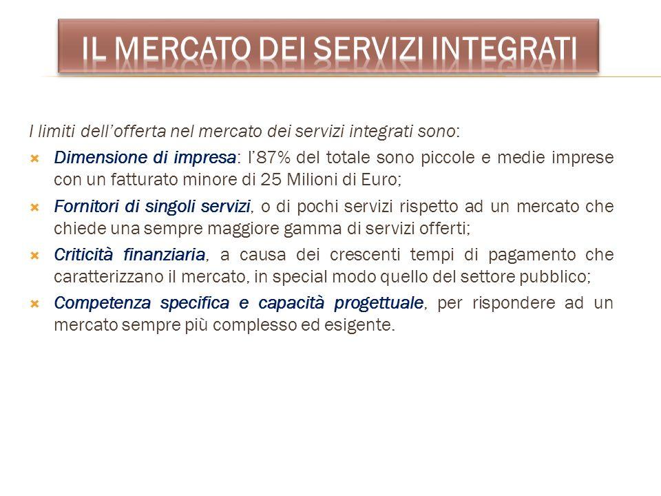 I limiti dellofferta nel mercato dei servizi integrati sono: Dimensione di impresa: l87% del totale sono piccole e medie imprese con un fatturato mino