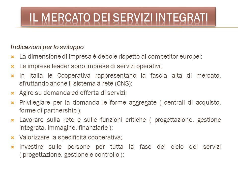 Indicazioni per lo sviluppo: La dimensione di impresa è debole rispetto ai competitor europei; Le imprese leader sono imprese di servizi operativi; In