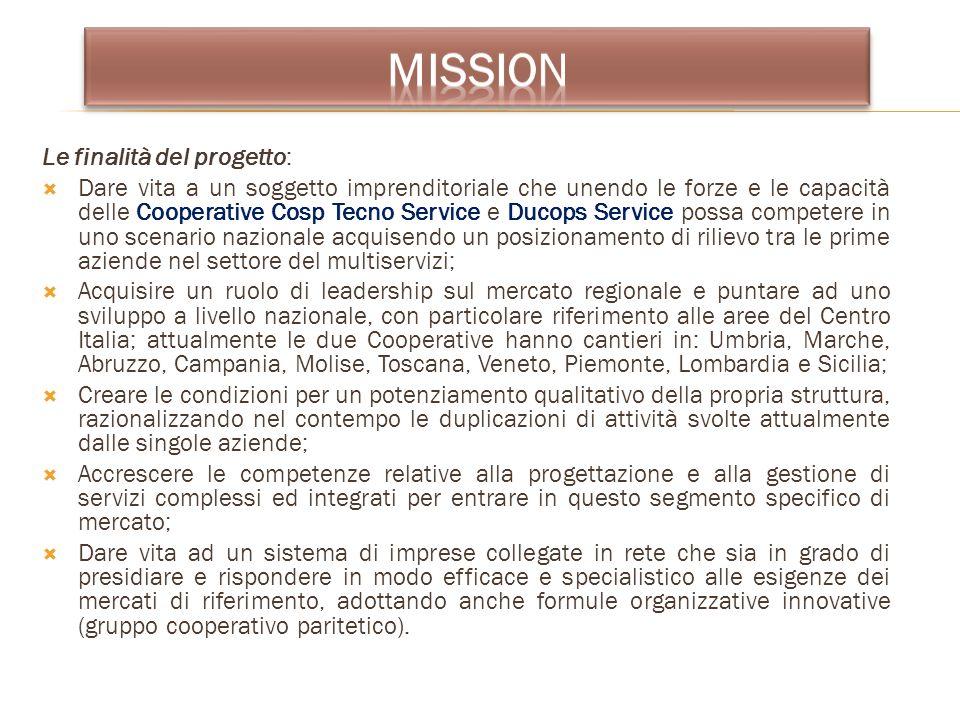 Le finalità del progetto: Dare vita a un soggetto imprenditoriale che unendo le forze e le capacità delle Cooperative Cosp Tecno Service e Ducops Serv