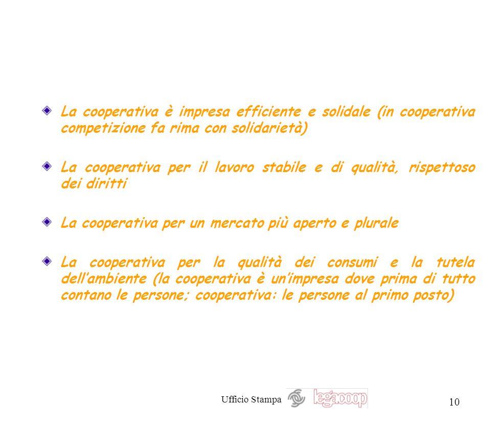 Ufficio Stampa 10 La cooperativa è impresa efficiente e solidale (in cooperativa competizione fa rima con solidarietà) La cooperativa per il lavoro st