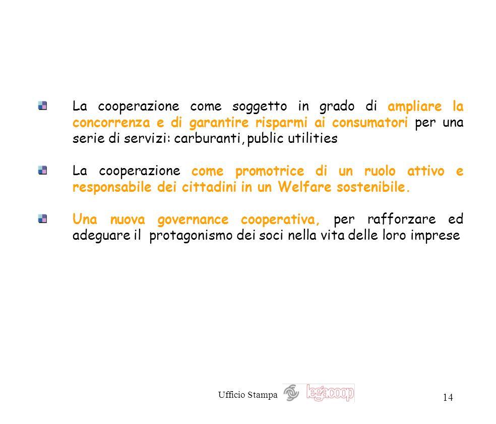 Ufficio Stampa 14 La cooperazione come soggetto in grado di ampliare la concorrenza e di garantire risparmi ai consumatori per una serie di servizi: c