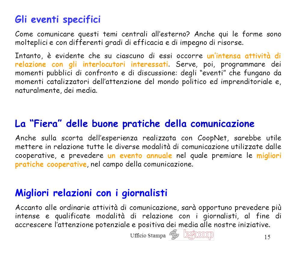 Ufficio Stampa 15 Gli eventi specifici Come comunicare questi temi centrali allesterno? Anche qui le forme sono molteplici e con differenti gradi di e