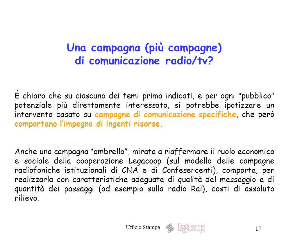 Ufficio Stampa 17 Una campagna (più campagne) di comunicazione radio/tv? È chiaro che su ciascuno dei temi prima indicati, e per ogni pubblico potenzi