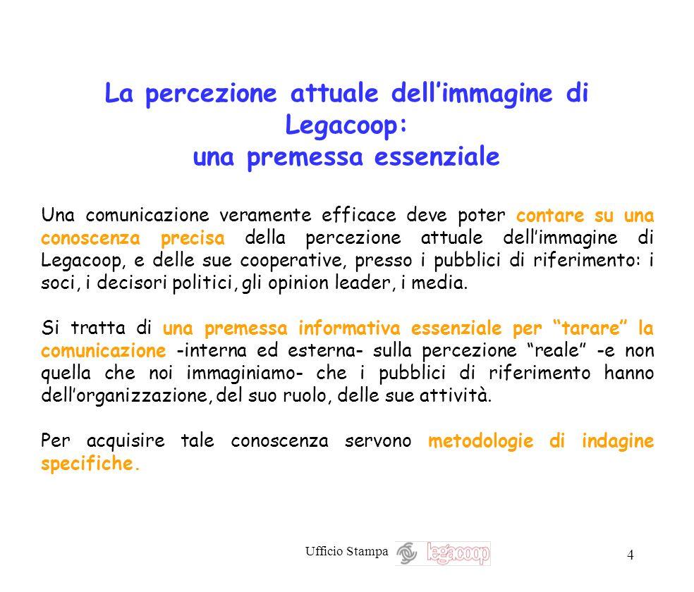 Ufficio Stampa 4 La percezione attuale dellimmagine di Legacoop: una premessa essenziale Una comunicazione veramente efficace deve poter contare su un