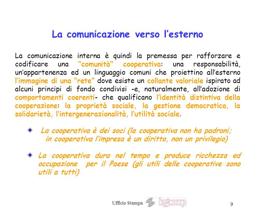 Ufficio Stampa 9 La comunicazione verso lesterno La comunicazione interna è quindi la premessa per rafforzare e codificare una comunità cooperativa: u