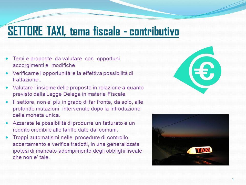SETTORE TAXI, tema fiscale - contributivo Temi e proposte da valutare con opportuni accorgimenti e modifiche Verificarne lopportunità e la effettiva possibilità di trattazione..