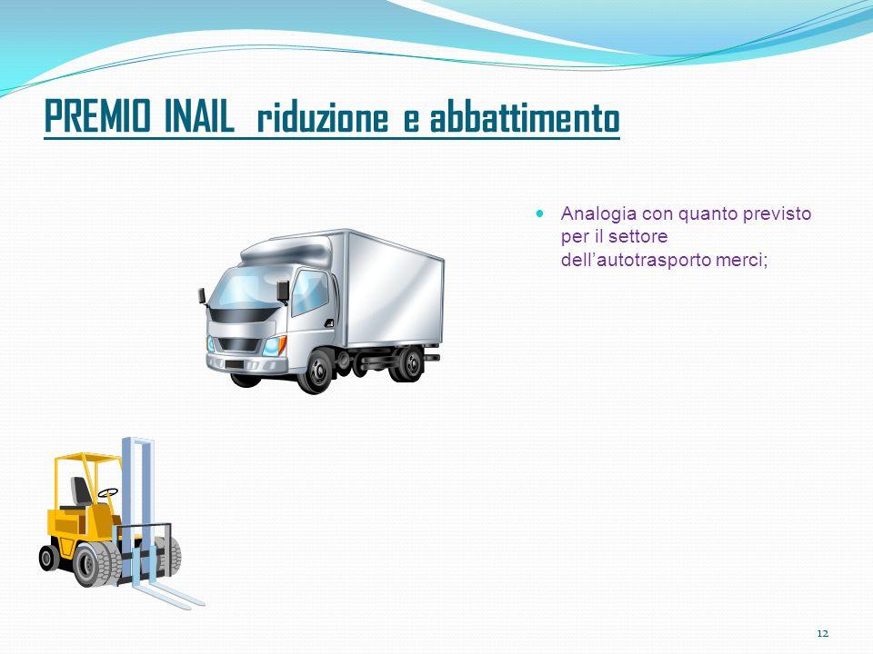 PREMIO INAIL riduzione e abbattimento Analogia con quanto previsto per il settore dellautotrasporto merci; 12