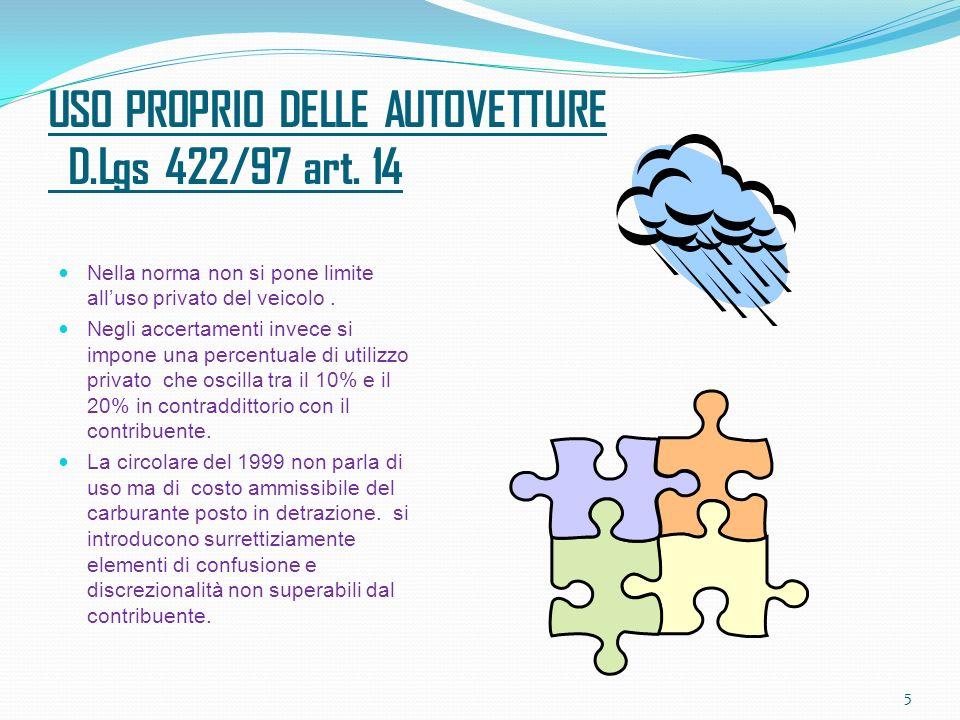 USO PROPRIO DELLE AUTOVETTURE D.Lgs 422/97 art.