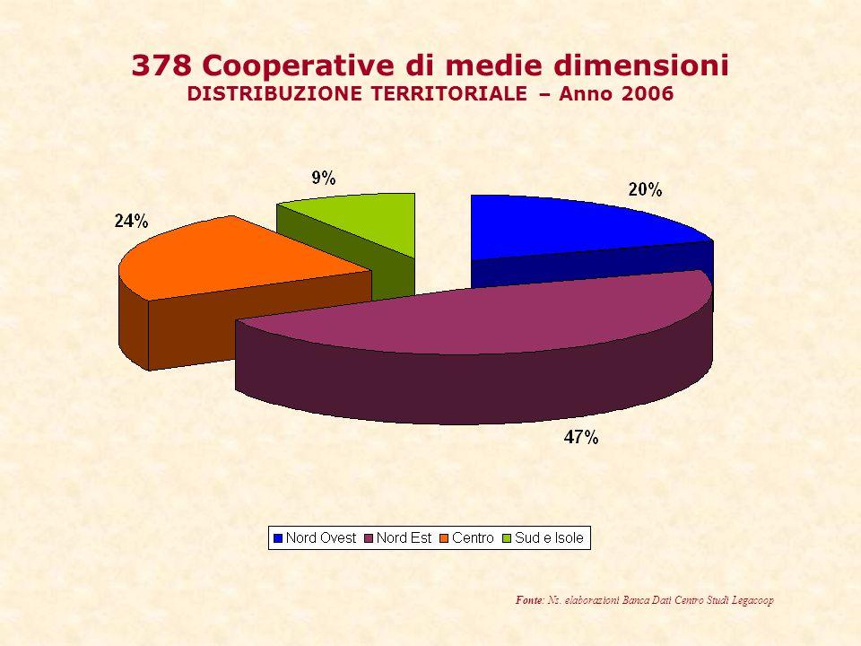 378 Cooperative di medie dimensioni DISTRIBUZIONE TERRITORIALE – Anno 2006 Fonte: Ns.