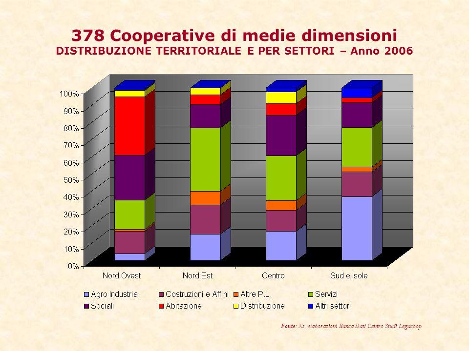 378 Cooperative di medie dimensioni DISTRIBUZIONE TERRITORIALE E PER SETTORI – Anno 2006 Fonte: Ns.