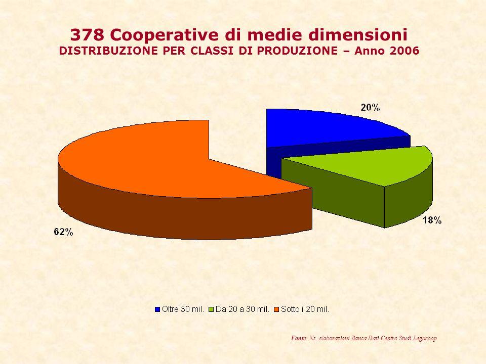 378 Cooperative di medie dimensioni DISTRIBUZIONE PER CLASSI DI PRODUZIONE – Anno 2006 Fonte: Ns.