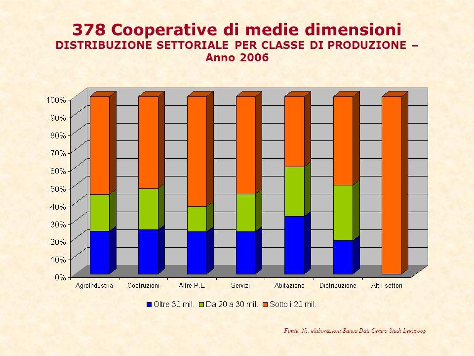378 Cooperative di medie dimensioni DISTRIBUZIONE SETTORIALE PER CLASSE DI PRODUZIONE – Anno 2006 Fonte: Ns.