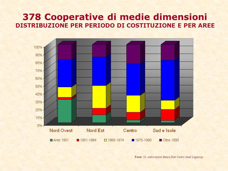 378 Cooperative di medie dimensioni DISTRIBUZIONE PER PERIODO DI COSTITUZIONE E PER AREE Fonte: Ns.