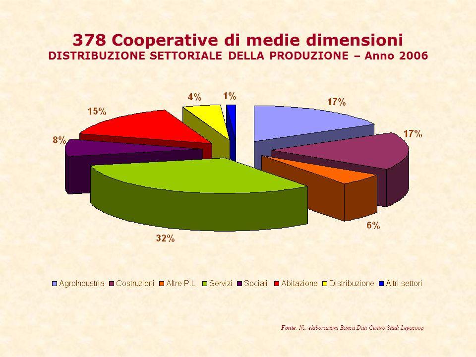 378 Cooperative di medie dimensioni DISTRIBUZIONE SETTORIALE DELLA PRODUZIONE – Anno 2006 Fonte: Ns.