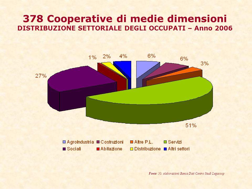 378 Cooperative di medie dimensioni DISTRIBUZIONE SETTORIALE DEGLI OCCUPATI – Anno 2006 Fonte: Ns.