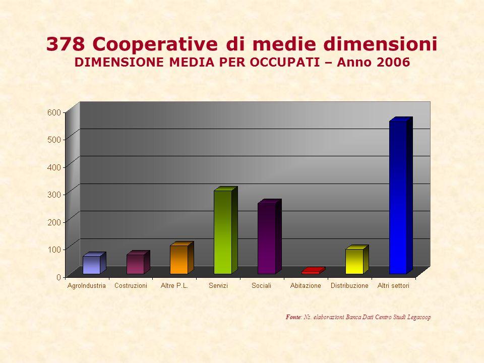 378 Cooperative di medie dimensioni DIMENSIONE MEDIA PER OCCUPATI – Anno 2006 Fonte: Ns.