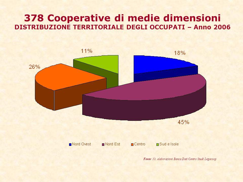 378 Cooperative di medie dimensioni DISTRIBUZIONE TERRITORIALE DEGLI OCCUPATI – Anno 2006 Fonte: Ns.