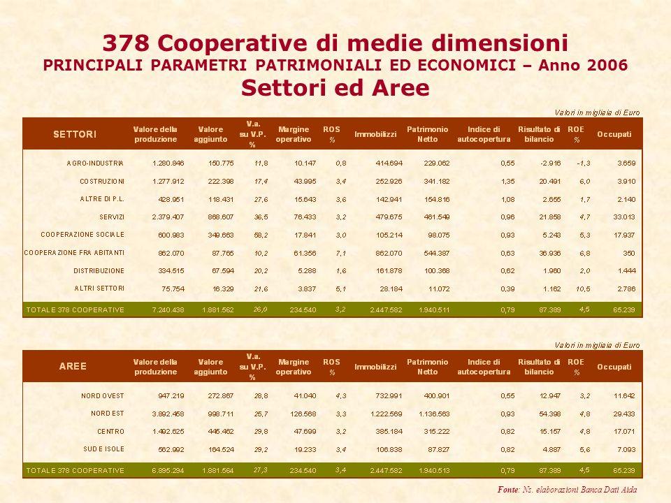 378 Cooperative di medie dimensioni PRINCIPALI PARAMETRI PATRIMONIALI ED ECONOMICI – Anno 2006 Settori ed Aree Fonte: Ns.