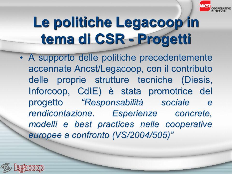 Le politiche Legacoop in tema di CSR - Progetti A supporto delle politiche precedentemente accennate Ancst/Legacoop, con il contributo delle proprie strutture tecniche (Diesis, Inforcoop, CdIE) è stata promotrice del progetto R esponsabilità sociale e rendicontazione.