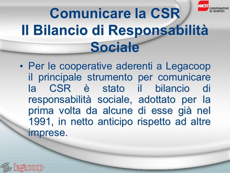 Comunicare la CSR Il Bilancio di Responsabilità Sociale Per le cooperative aderenti a Legacoop il principale strumento per comunicare la CSR è stato il bilancio di responsabilità sociale, adottato per la prima volta da alcune di esse già nel 1991, in netto anticipo rispetto ad altre imprese.