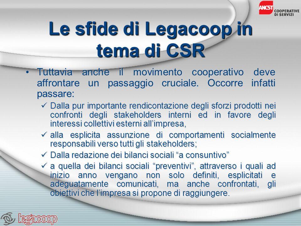 Le sfide di Legacoop in tema di CSR Tuttavia anche il movimento cooperativo deve affrontare un passaggio cruciale.