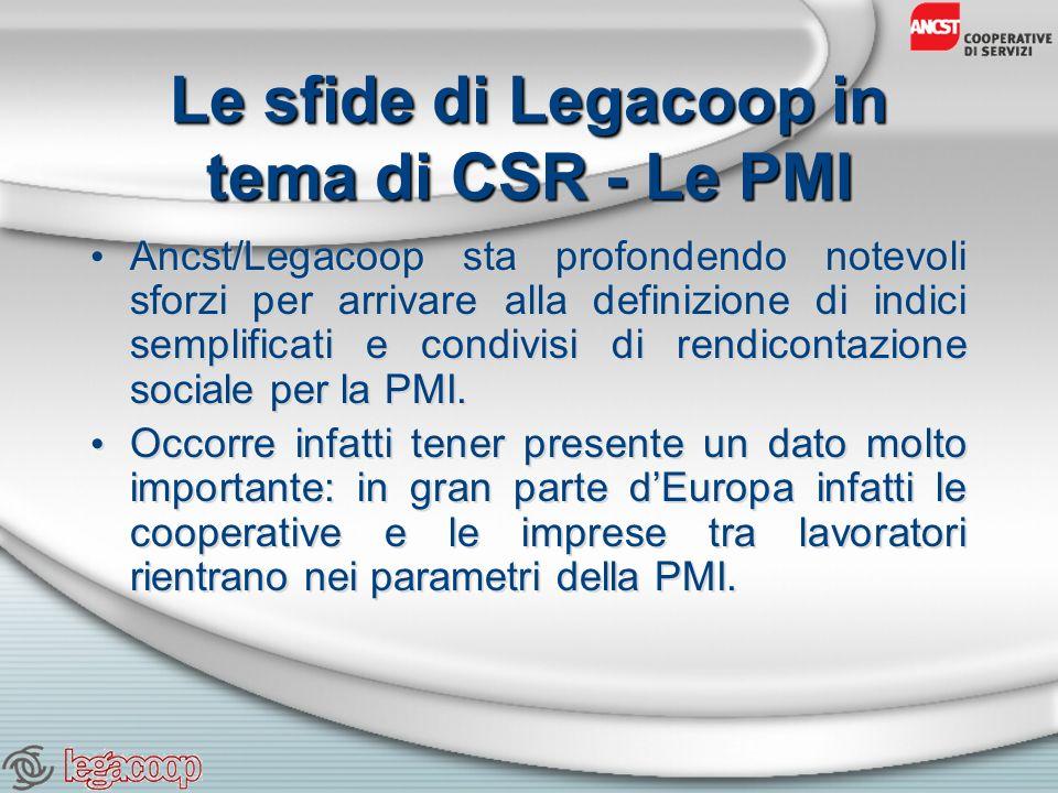 Le sfide di Legacoop in tema di CSR - Le PMI Ancst/Legacoop sta profondendo notevoli sforzi per arrivare alla definizione di indici semplificati e condivisi di rendicontazione sociale per la PMI.