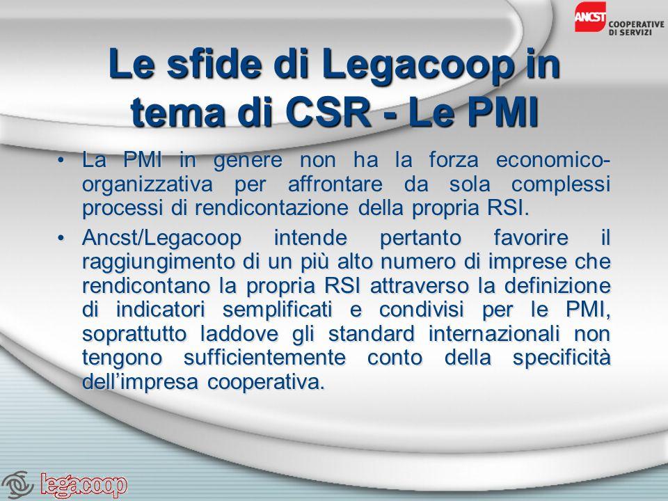 Le sfide di Legacoop in tema di CSR - Le PMI La PMI in genere non ha la forza economico- organizzativa per affrontare da sola complessi processi di rendicontazione della propria RSI.