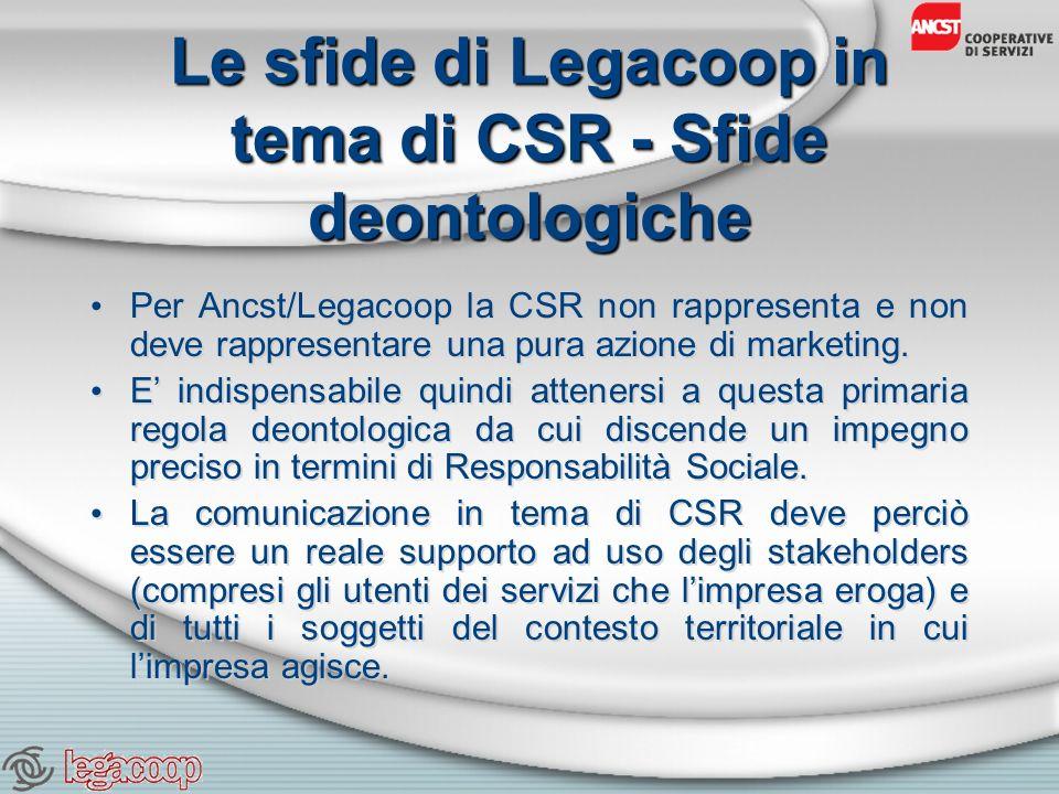 Le sfide di Legacoop in tema di CSR - Sfide deontologiche Per Ancst/Legacoop la CSR non rappresenta e non deve rappresentare una pura azione di marketing.
