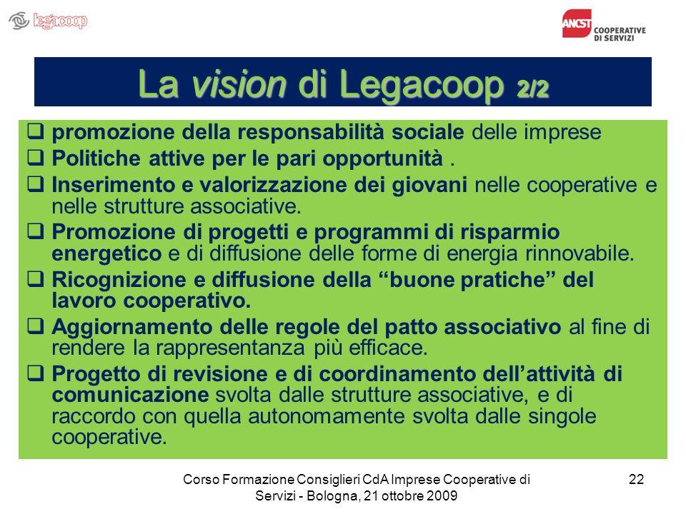 22 La vision di Legacoop 2/2 promozione della responsabilità sociale delle imprese Politiche attive per le pari opportunità. Inserimento e valorizzazi