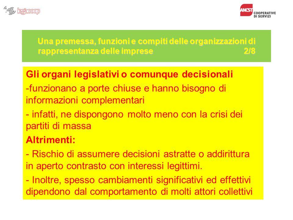Una premessa, funzioni e compiti delle organizzazioni di rappresentanza delle imprese 2/8 Gli organi legislativi o comunque decisionali -funzionano a