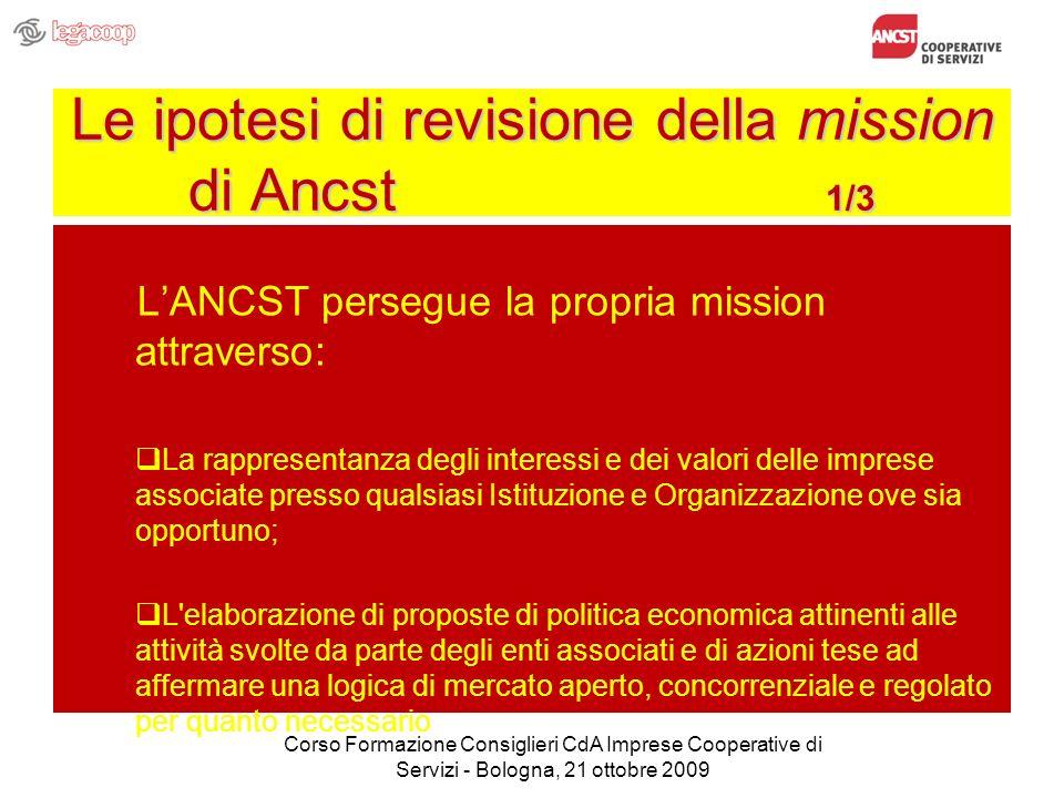 Le ipotesi di revisione della mission di Ancst 1/3 LANCST persegue la propria mission attraverso: La rappresentanza degli interessi e dei valori delle