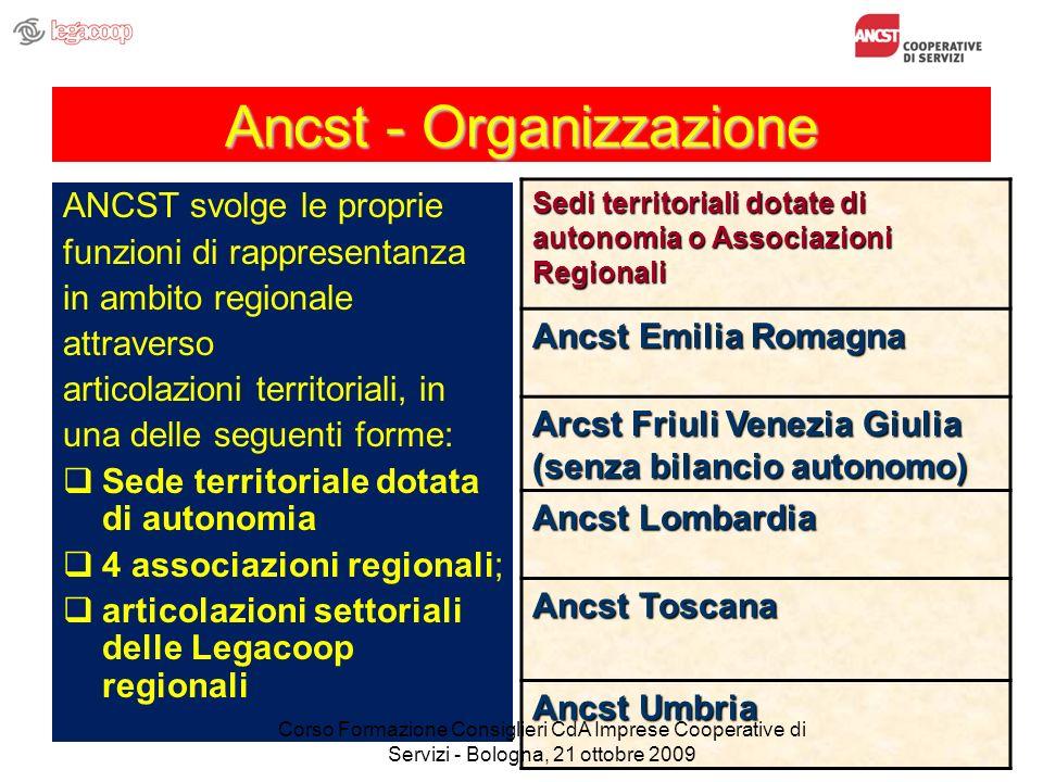 Ancst - Organizzazione ANCST svolge le proprie funzioni di rappresentanza in ambito regionale attraverso articolazioni territoriali, in una delle segu