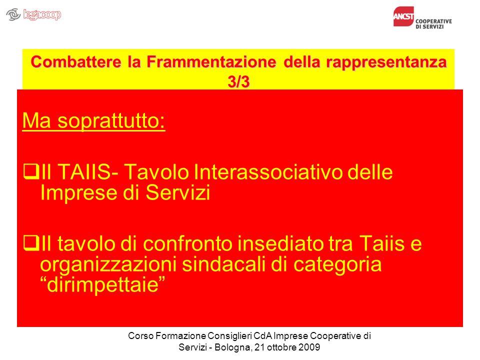 Combattere la Frammentazione della rappresentanza 3/3 Ma soprattutto: Il TAIIS- Tavolo Interassociativo delle Imprese di Servizi Il tavolo di confront