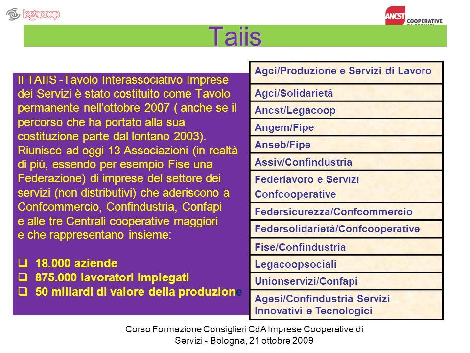 Taiis Il TAIIS -Tavolo Interassociativo Imprese dei Servizi è stato costituito come Tavolo permanente nellottobre 2007 ( anche se il percorso che ha p