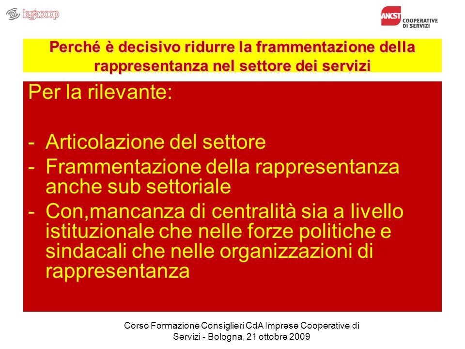 Perché è decisivo ridurre la frammentazione della rappresentanza nel settore dei servizi Per la rilevante: -Articolazione del settore -Frammentazione