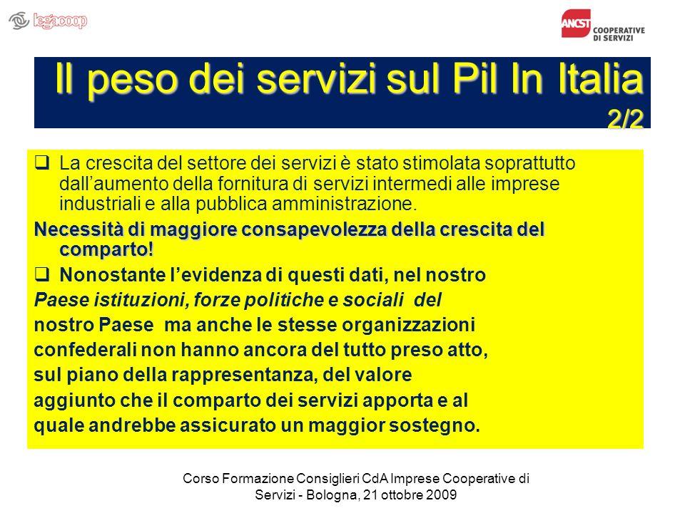 Il peso dei servizi sul Pil In Italia 2/2 La crescita del settore dei servizi è stato stimolata soprattutto dallaumento della fornitura di servizi intermedi alle imprese industriali e alla pubblica amministrazione.