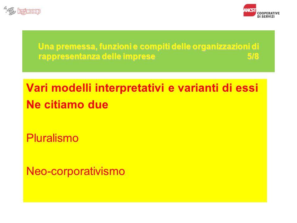 Una premessa, funzioni e compiti delle organizzazioni di rappresentanza delle imprese 5/8 Vari modelli interpretativi e varianti di essi Ne citiamo du