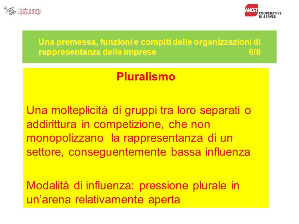 Una premessa, funzioni e compiti delle organizzazioni di rappresentanza delle imprese 6/8 Pluralismo Una molteplicità di gruppi tra loro separati o ad